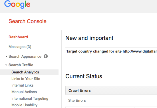 Google Search Console screenshot of search analytics report